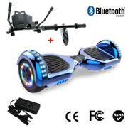Cool&Fun Hoverboard 6.5 Pouces avec Bluetooth Bleu + Hoverkart Noir, Gyropode Overboard Smart Scooter certifié, Pneu à LED de couleur, Kit kart