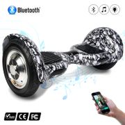COOL&FUN Hoverboard 10 pouces avec Bluetooth, Gyropode  Overboard Smart Scooter, Tête De Mort Noir