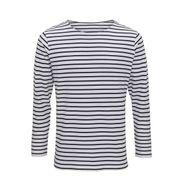 T-shirt rayé marinière homme - manches longues - AQ070 - blanc et bleu marine