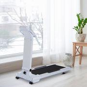 Tapis roulant électrique de course pliable 1-10 Km/h écran LCD tactile support Ipad interface MP3 acier blanc