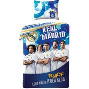 Housse de couette Real Madrid 140 x200 cm 1 lit simple 100 % coton joueurs - unique bleu