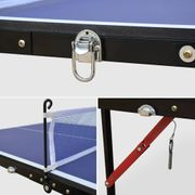 Mini table de ping pong pliable INDOOR Sapporo bleue, avec 2 raquettes et 3 balles, tennis de table