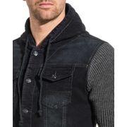 Veste en jeans 2175 homme bi-matière bleu brut à capuche