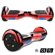 Cool&Fun Hoverboard 6.5 Pouces avec Bluetooth Rouge + Hoverkart Hip, Gyropode Overboard Smart Scooter certifié, Pneu à LED de couleur, Kit kart