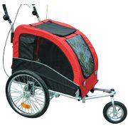 Remorque vélo jogger 2 en 1 pour animaux drapeau roue avant pivotante réflecteurs et barre d'attelage inclus rouge noir 89