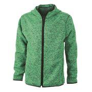 Veste tricot polaire à capuche HOMME- JN589 - vert clair chiné