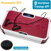 Home Vibration Plate 900 Smart - Plateforme vibrante oscillante - 5 Programmes - 2 Moteurs - Bluetooth -Appli - Rouge