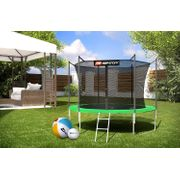 HS Hop-Sport Trampoline de jardin rond 305/3 pieds cm avec filet de sécurité intérieur; échelle; bâche de protection (Vert)