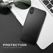 Coque housse pour iphone XS  en Fibre de Carbone Texture Cas de TPU Pour l'iPhone XS Max (Bleu Marine)