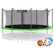Hop-Sport Trampoline rond de jardin  490 cm avec filet de sécurité intérieur; échellle; bâche de protection (Vert)