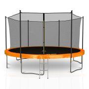 Classique 14Ft / ø424cm  Pack trampoline de jardin avec Filet intérieur, mousse de protection, échelle et tapis de saut - Orange