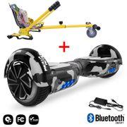 Mega Motion Hoverboard bluetooth 6.5 pouces, M1 Camouflage + Hoverkart Hip, Gyropode Overboard Smart Scooter certifié, Kit kart