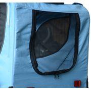 Remorque velo pour chien animaux avec 8 reflecteurs drapeau bleu noir 08