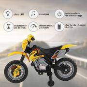 Moto Cross électrique enfants à partir de 3 ans 6 V phares klaxon musiques 102 x 53 x 66 cm jaune et noir