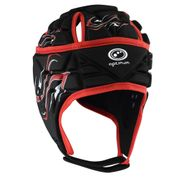 Optimum Inferno Rugby Headguard Scrumcap Black / Red - Small Boys