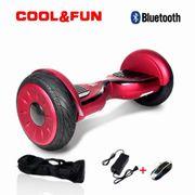 Cool&fun Hoverboard Bluetooth Tout terrain 10 pouces HORSEBOARD rouge bordeaux