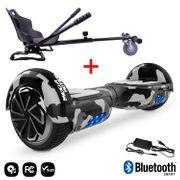 Mega Motion Hoverboard bluetooth 6.5 pouces, M1 Camouflage + Hoverkart noir, Gyropode Overboard Smart Scooter certifié, Kit kart