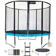 Kangui - Trampoline de jardin rond 305 cm + filet de sécurité + échelle + bâche de protection + kit d'ancrage   PUNCHI ATOLL 300