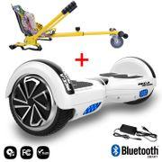 Mega Motion Hoverboard bluetooth 6.5 pouces, M1 Blanc + Hoverkart Hip, Gyropode Overboard Smart Scooter certifié, Kit kart