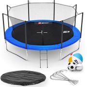 HS Hop-Sport Trampoline ronde de jardin 427 cm avec filet intérieur; échelle; bâche de protection Bleue