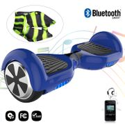 Cool&Fun Hoverboard Gyropode 6.5 Pouces avec Bluetooth bleu + Housse en silicone protection zippé pour hoverboard 6,5 pouces, noir vert