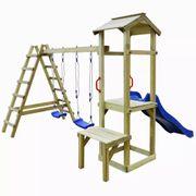 Balançoires et portiques Joli Maison de jeu avec toboggan échelle balançoire Pin 286x228x218