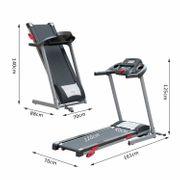 Tapis de course marche tapis roulant électrique pliable inclinable écran LCD avec MP3 1.75 chevaux gris noir 60