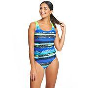 Zoggs femmes Aquabrush Speedback Maillot Bleu Vert Aqualast Proof Multicolore