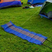 Matelas gonflable 1 place matelas pneumatique gonflage rapide dim. 191L x 63l x 5H cm tétière intégré , sac transport fourni PVC bleu gris