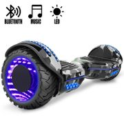 COOL&FUN Hoverboard Gyropode Bluetooth 6.5 pouces, Roues lumineuses à LED de couleur et Bande de LED, Camouflage