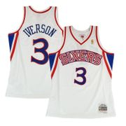 Maillot NBA Allen Iverson Philadelphie Sixers 2000-01 Home Road Mitchell & ness Hardwood Classic swingman Blanc Taille - XL