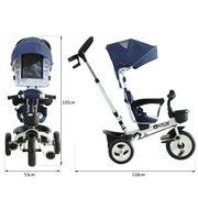 Tricycle enfant évolutif pliable pare-soleil pliable canne télescopique amovible 118L x 53l x 105H cm métal blanc bleu noir