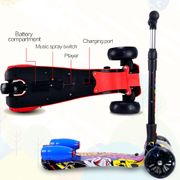 Cool&Fun Trottinette 3 roues enfants, Patinette avec Pulvérisation et LED, scooter pliable et réglable hauteur, Hip bleu