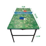 Table de ping-pong pliable - Verte avec des motifs. 152 x 76 x 71.5 cm.