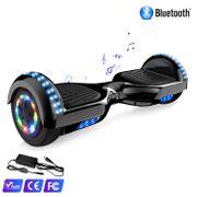 Cool&Fun Hoverboard Bluetooth 6.5 Pouces noir carbon + Hoverkart Blanc, Gyropode Overboard Smart Scooter certifié, Pneu à LED de couleur, Kit kart