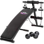 Banc de musculation abdominaux pliable haltères + cordes fitness sport Helloshop26 0708014