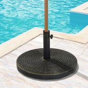 Pied de parasol rond base de lestage Ø 53 x 30 cm résine imitation rotin poids net 25 Kg noir bronze