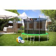 HS Hop-Sport Trampoline de jardin rond 305 cm/4 pieds cm avec filet de sécurité intérieur; échelle; bâche de protection (Vert)