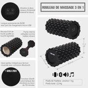 Gorilla Sports - Rouleau vibrant 3 en 1 (haltère, rouleau de massage et enceinte audio)