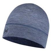 Bonnet Buff Lightweight Merino Wool Hat Light Denim Multi Stripes gris bleuté
