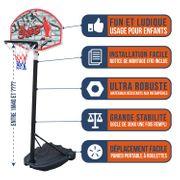 Panier de Basket Bumber - Detroit - hauteur réglable de 1,4 à 1.9 m.