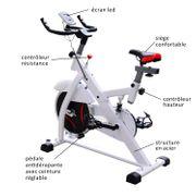 Vélo d'appartement d'exercice professionnel écran de contrôle multifonction LCD blanc 69