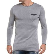 Pullover homme long gris clair fine maille et col rond