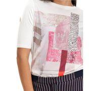 Tee-shirt bi-matière Femme Ecru Garcia