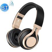 Casque audio bluetooth-BT-08 de Sur-Oreille Casque d'écoute sans Fil Réglable Pliable Casque Bluetooth avec Micro(Or Noir)