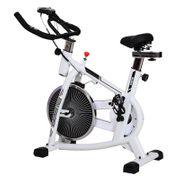 Vélo d'appartement cardio vélo biking 107L x 46l x 103H cm écran LCD multifonction selle et guidon réglable acier blanc