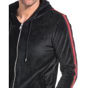 Sweat velvet noir bandes rouge latérales à capuche
