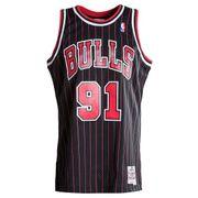 Maillot NBA swingman Dennis Rodman Chicago Bulls 1995-96 Hardwood Classics Mitchell & ness noir rayé taille - S