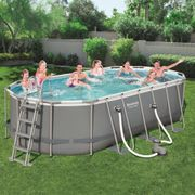 Bestway Ensemble de piscine Power Steel Ovale 56710