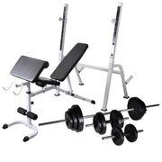 vidaXL Banc d'entraînement avec support de poids jeu d'haltères 30,5kg